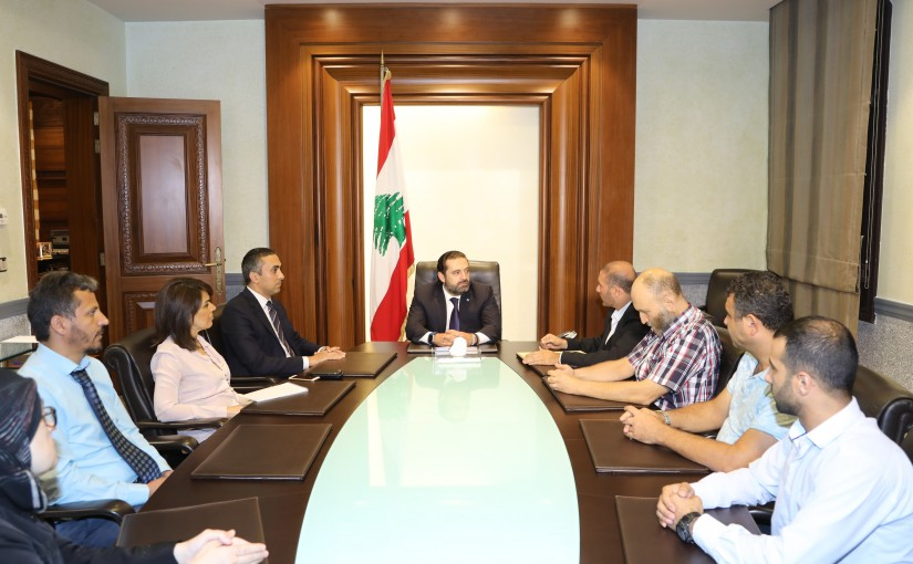 Pr Minister Saad Hariri meets Judge Hani Hajjar with a Delegation