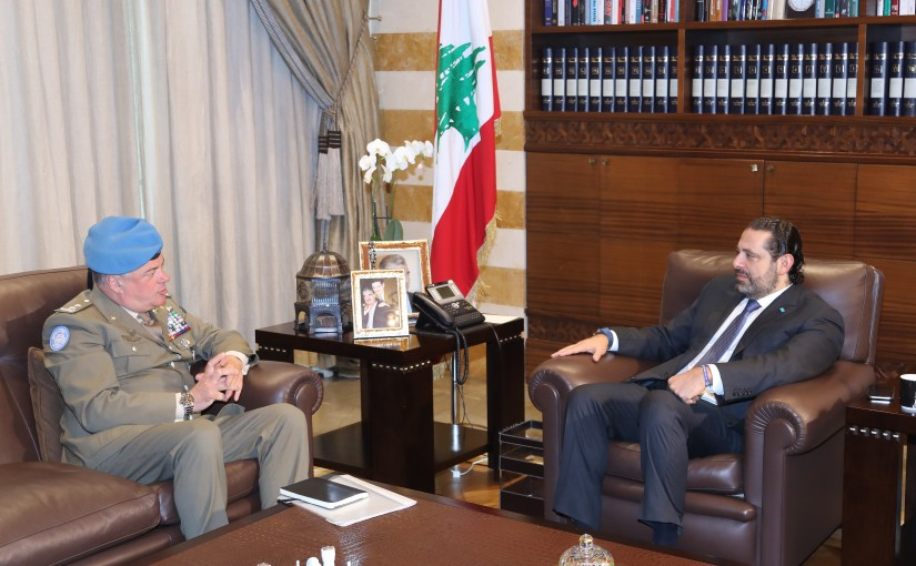Pr Minister Saad Hariri meets Head of Force Commander of the United Nations Interim Force in Lebanon Major General Stefano Del Col