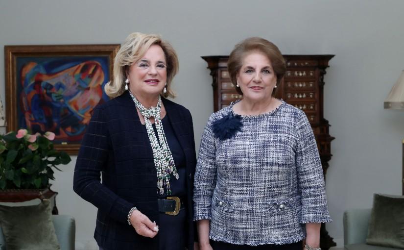 The First Lady Nadia Aoun meets S.A.S Ira De Furnstenberg ( Bal International des Debutantes)