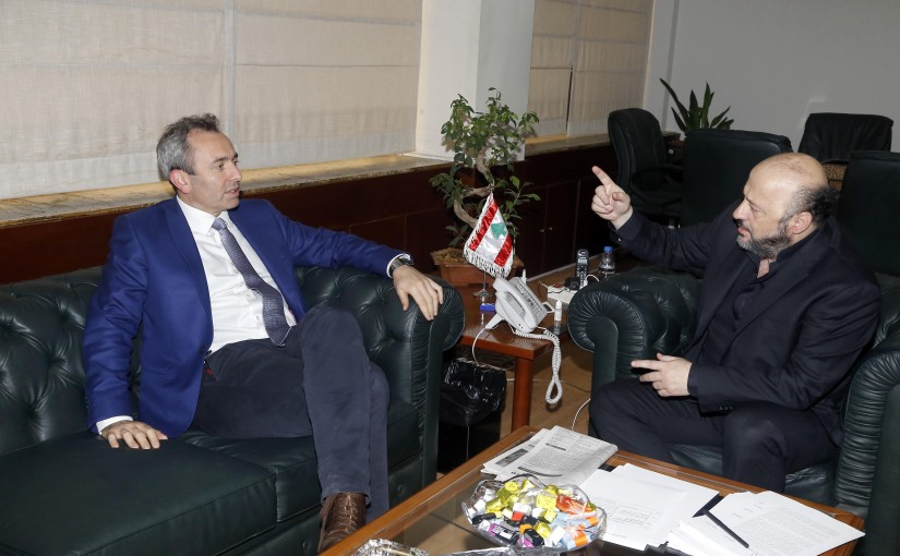 Minister Melhem Riachi meets British Ambassador