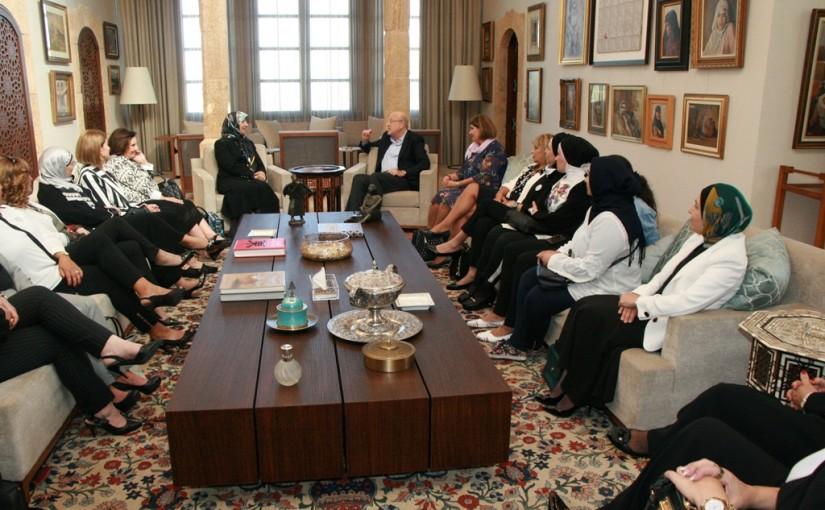 Former Pr Minister Najib Mikati meets Mrs Rabab Sader with a Delegation
