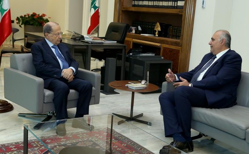 President Michel Aoun meets Former Minister Gaby Layoun.