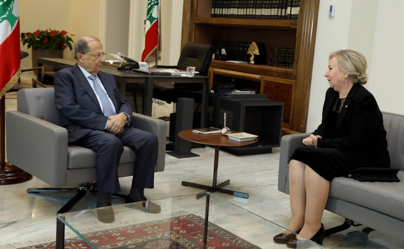 President Michel Aoun meets Ambassador of Uruguay Marta Ines Pizzanelli.