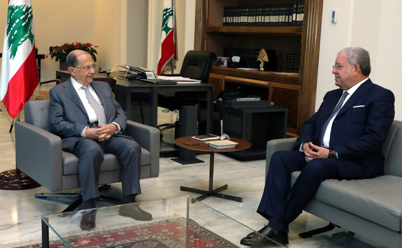 President Michel Aoun meets Minister Nouhad El Machnouk.