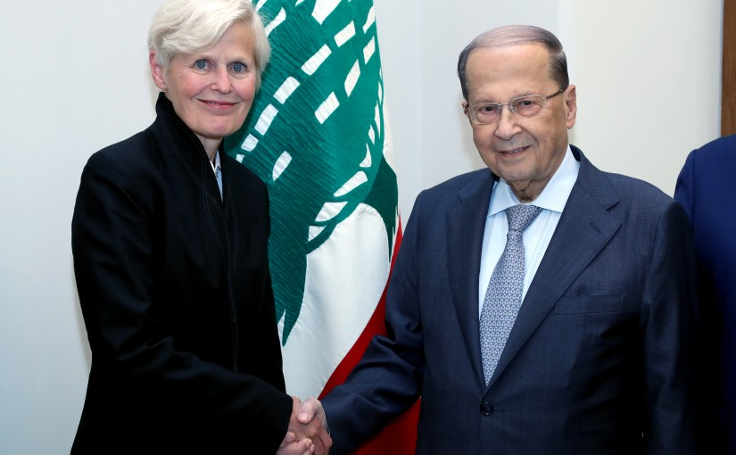 President Michel Aoun meets President of ICARDA International organization Ms Margret Thalwitz with a Delegation.