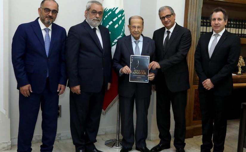 President Michel Aoun meets MP Hagop Pakradounian with a delegation.