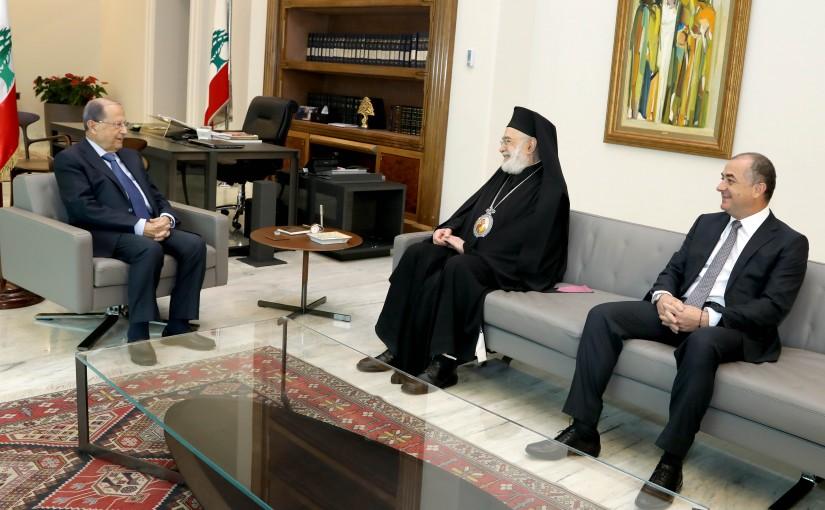 President Michel Aoun meets Bishop Elias Audi & MP Elias Bou Saab.