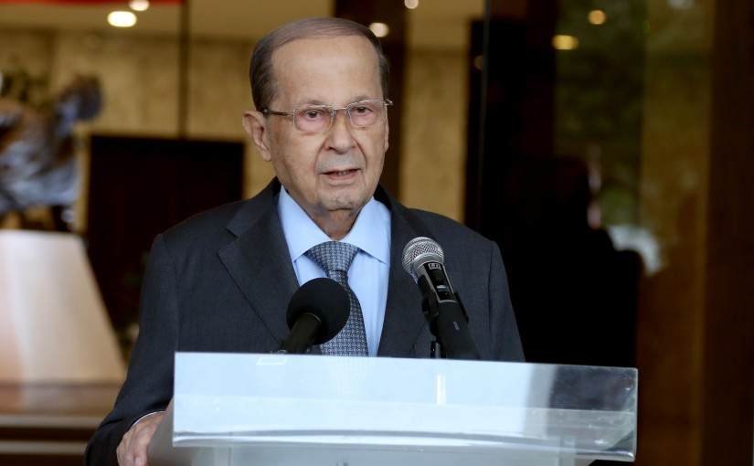 President Michel Aoun meets Father Georges Sadaka with a delegation from the closing ceremony of the annual Independence Day race.