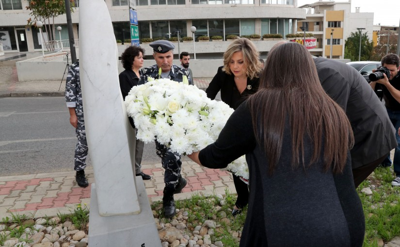 The Lebanese National Women's Commission placed a wreath on the women's monument in Baabda. Mrs.Claudine Aoun Roukoz.