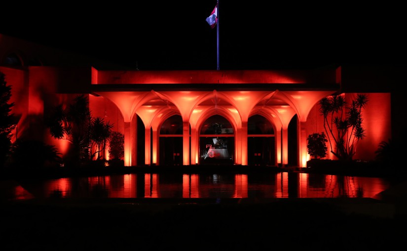 Lighting  the Presidential palace in orange on the occasion of the World day of violence against women.