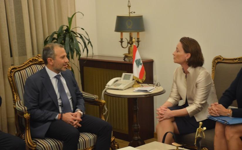 Minister Gebran Bassil meets a Suisse Delegation