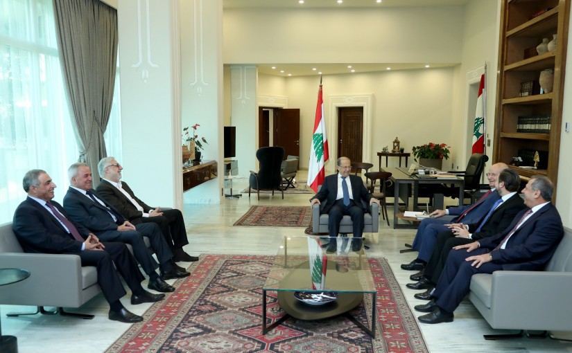 President Michel Aoun meets Deputies of the consultative meeting.