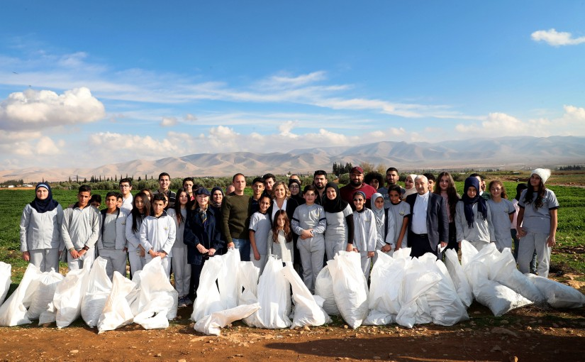 National Commission for Women's Affairs .Mrs. Claudine Aoun Roukoz collecting cartiges from North  Bekaa.