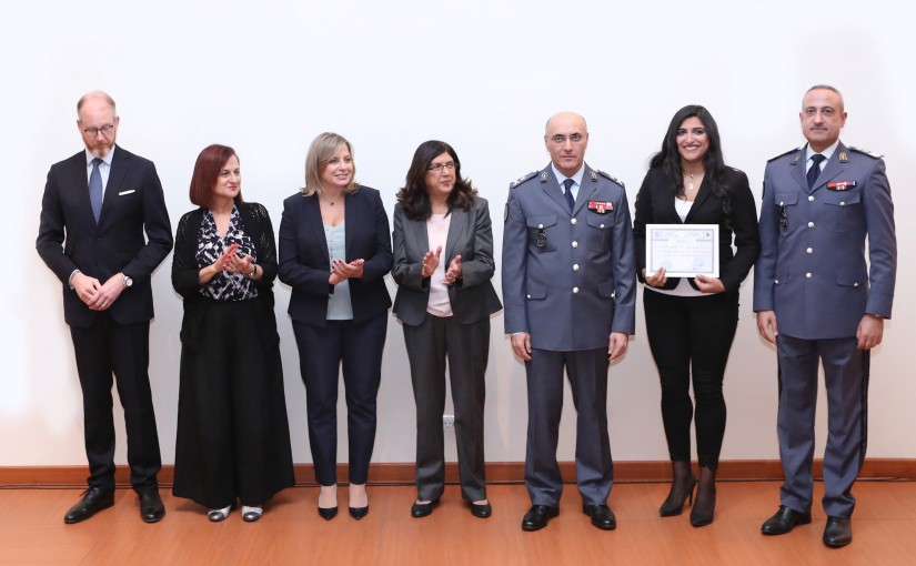 Graduation ceremony of ISF officers and staff trained to support victims of domestic violence (KAFA ASSOCIATION)