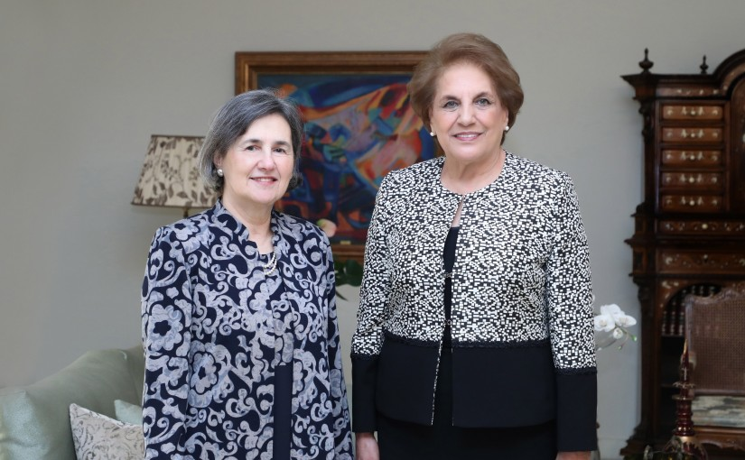 The First Lady Mrs Nadia Aoun meets Mrs Roula Ghani with delegation (wife of Pr.Afghanistan)
