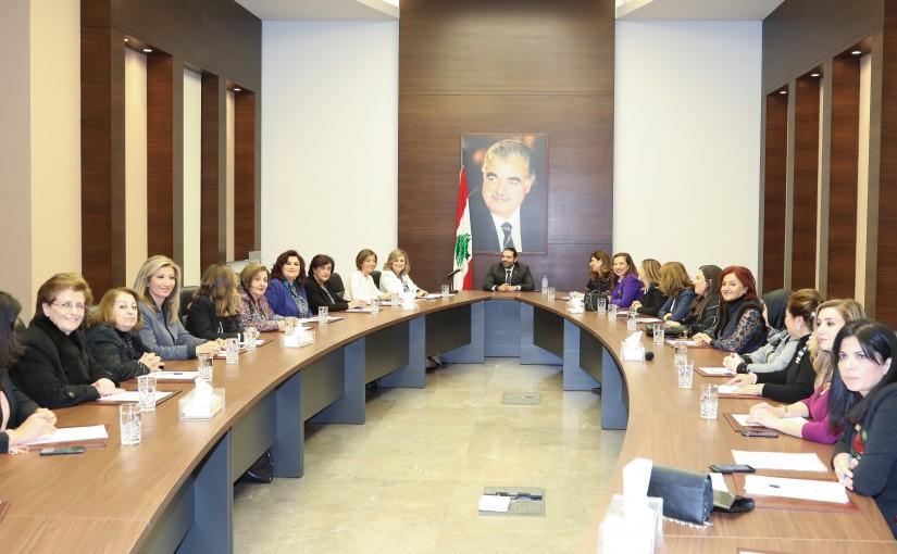 Pr Minister Saad Hariri meets a Delegation from Lebanese Women Association