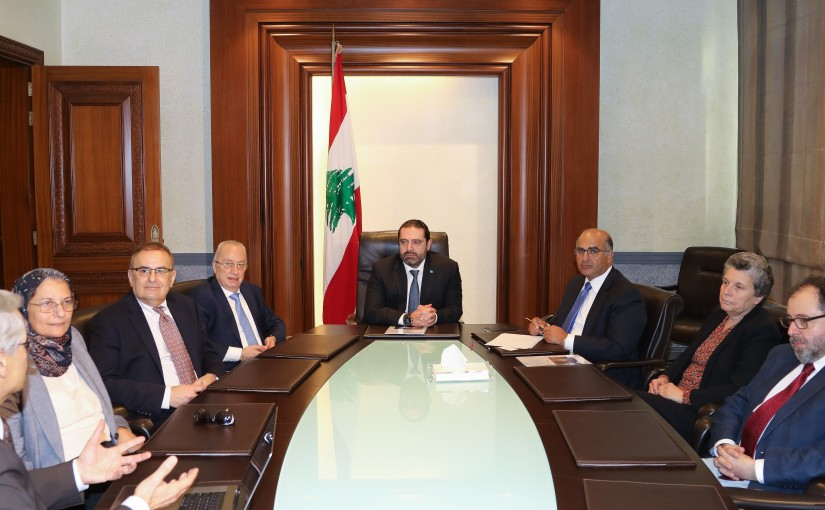 Pr Minister Saad Hariri meets Mr Fady Fawaz with a Delegation