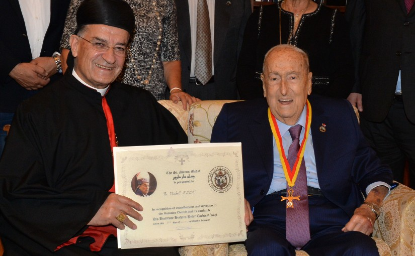 His Beatitude Cardinal Bechara Peter Rahi , St. Maron Medal is presented to Mr. Michel Edde