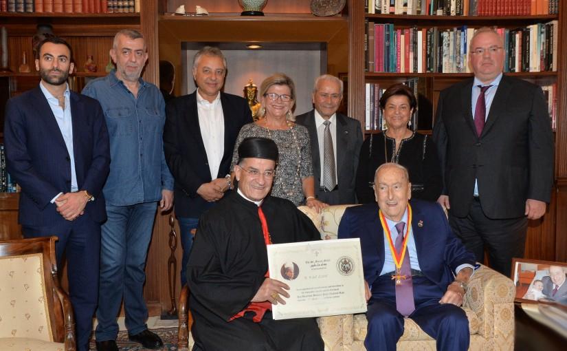 His Beatitude Cardinal Bechara Peter Rahi , St. Maron Medal is presented to Mr. Michel Edde .
