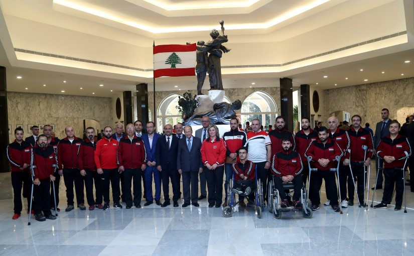 President Michel Aoun meets MP Simon Abi Ranmia with a Delegation from the third sports festival participants (Special needs).Syria.