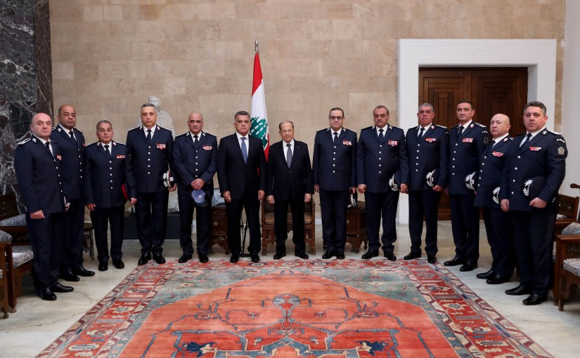 President Michel Aoun meets Delegation of General Security Forces to congratulate the holidays.