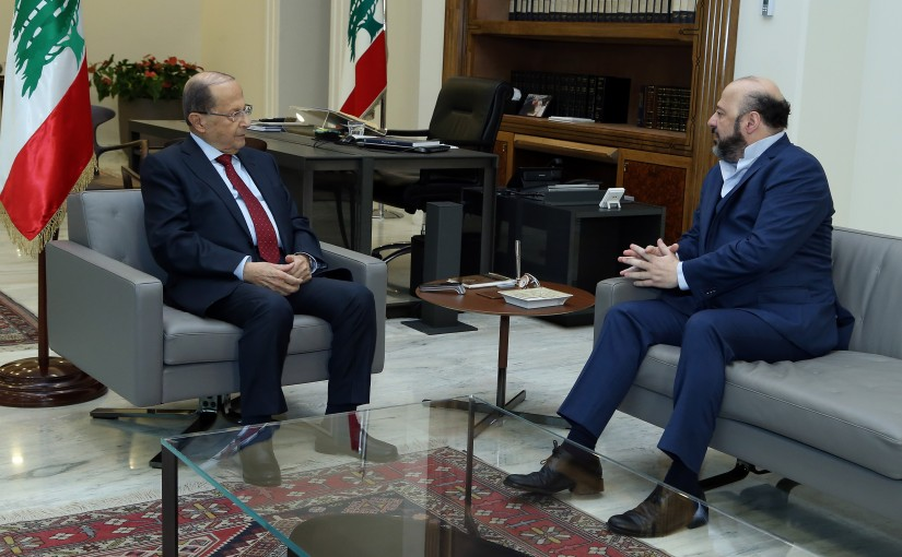 President Michel Aoun meets Minister Melhem Riachi.