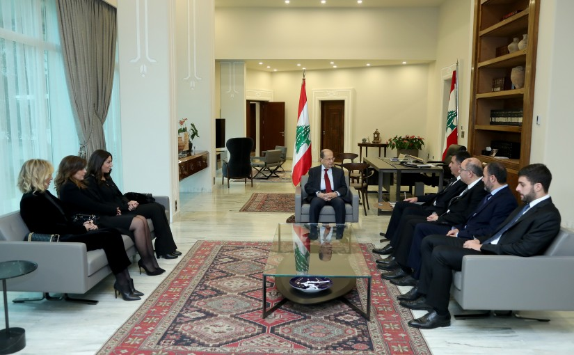 President Michel Aoun meets the family of the late Rene Murshed Alhaj Chahine .