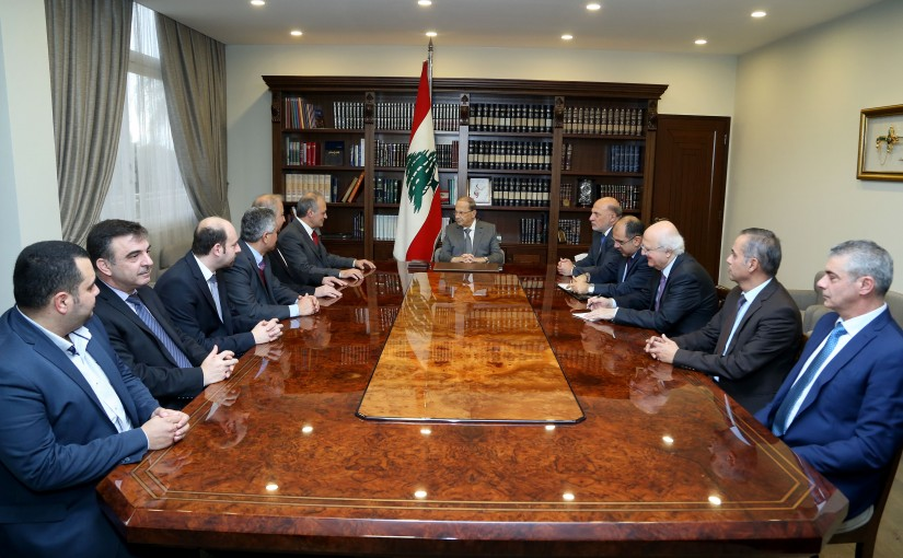 President Michel Aoun meets Professor Roger Rebeiz with a delegation from Dental Association.