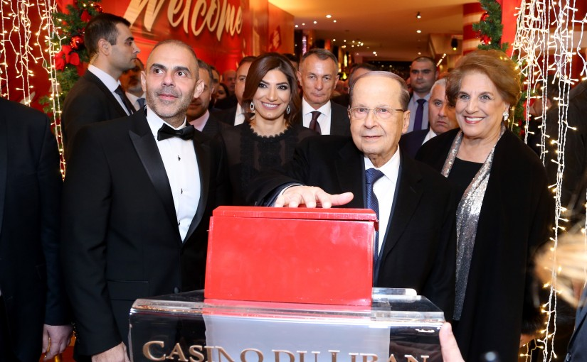President Michel Aoun and the first lady Nadia Chamy Aoun, Inaugurate the Christmas Village.(Casino Du Liban).