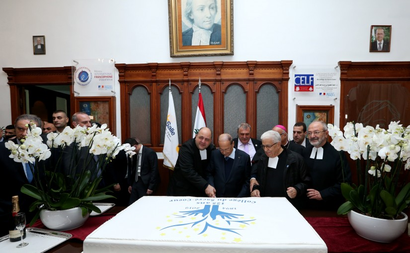 President Michel Aoun attends the Celebration of the Jubilee 125 for Collège du Sacré Coeur Gemmayzeh.