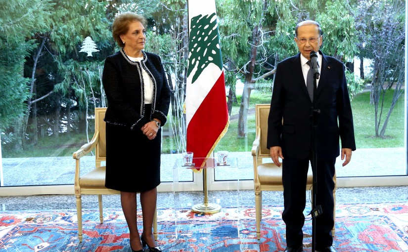 President Michel Aoun accepts the congratulations of the leaders of the military and security apparatuses and the staff  of the presidential palace