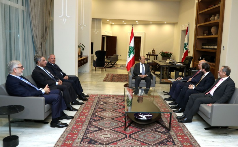 President Michel Aoun meets Deputies Consultative Meeting.