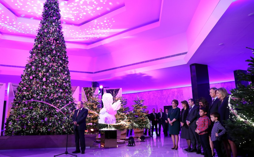 President Michel Aoun &The First Lady Mrs. Nadia Aoun lit the tree.