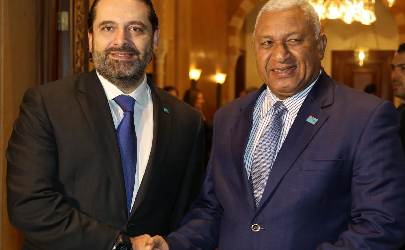 Pr Minister Saad Hariri meets Fiji Pr Minister