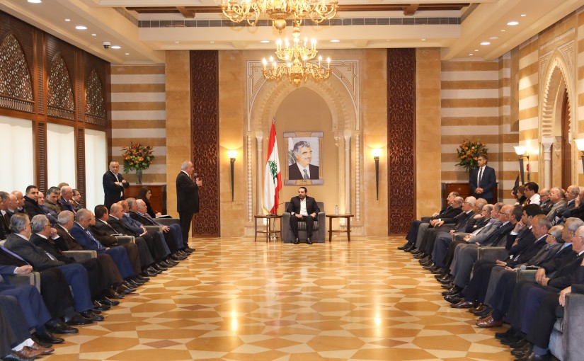 Pr Minister Saad Hariri meets a Delegation from Eklim El Gharoub