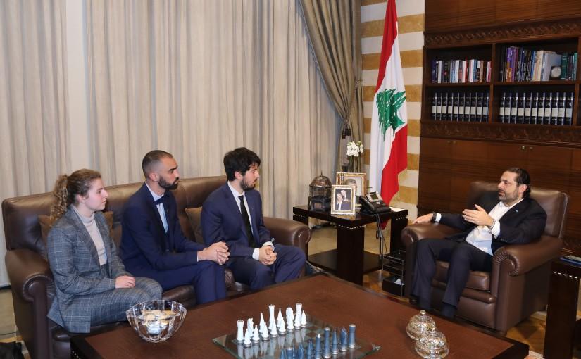Pr Minister Saad Hariri meets a Delegation from  jean charles bonenfant Foundation
