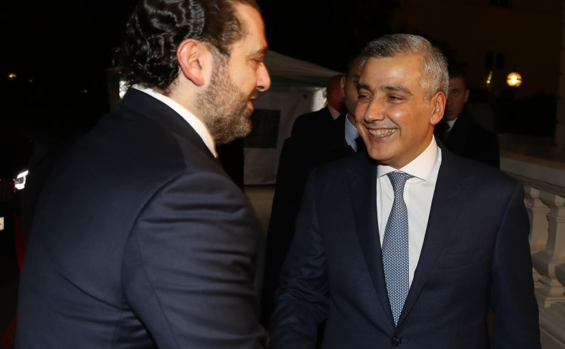Pr Minister Saad Hariri meets a Delegation from Lebanese Businessman at the Lebanese Embassy in London