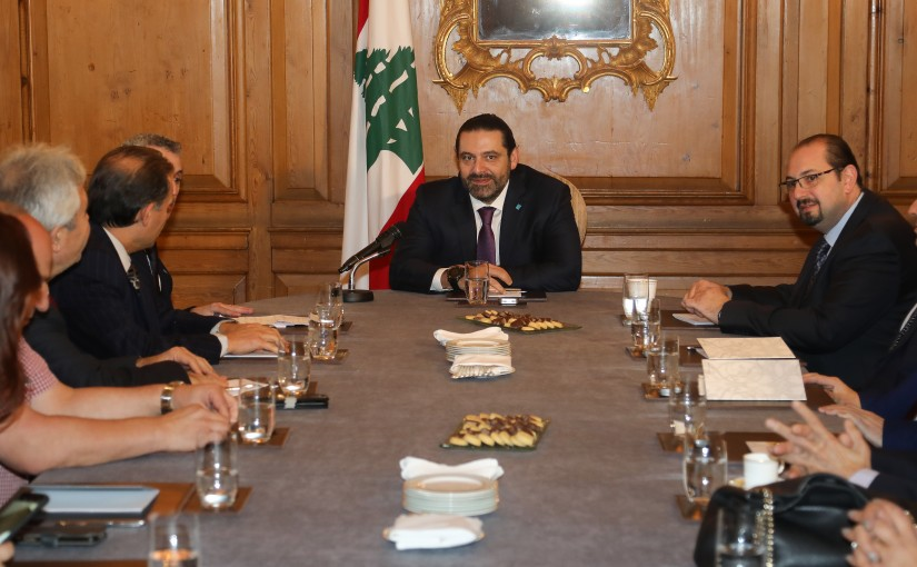 Pr Minister Saad Hariri meets a Delegation from Almustaqbal Party in London