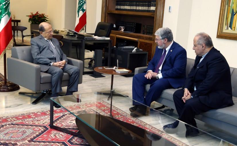 President Michel Aoun meets Dr. Fadlo Khuri and father Salim Dakash.