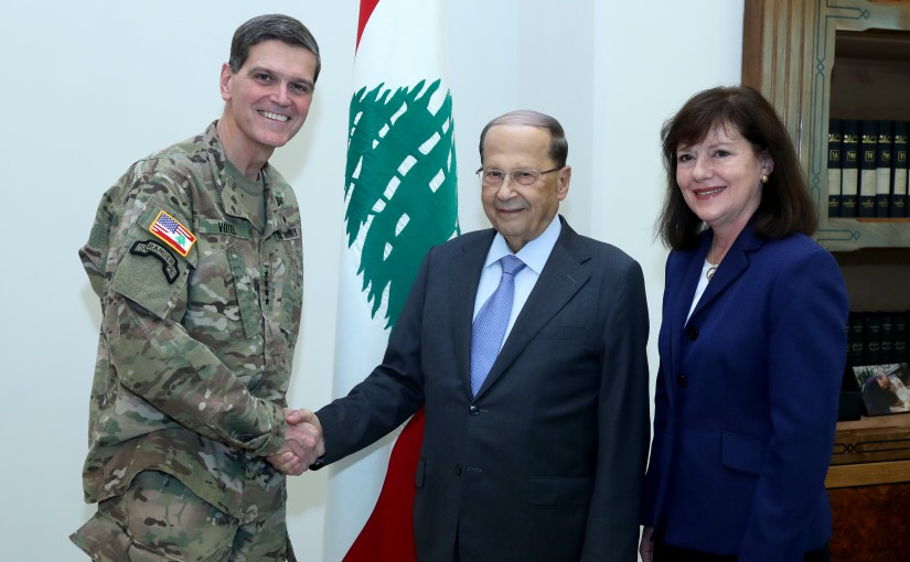 President Michel Aoun meets General Joseph L.Votel with a delegation.