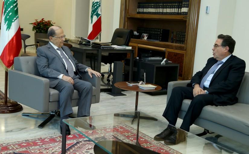 President Michel Aoun meets Minister Nicolas Tueni.