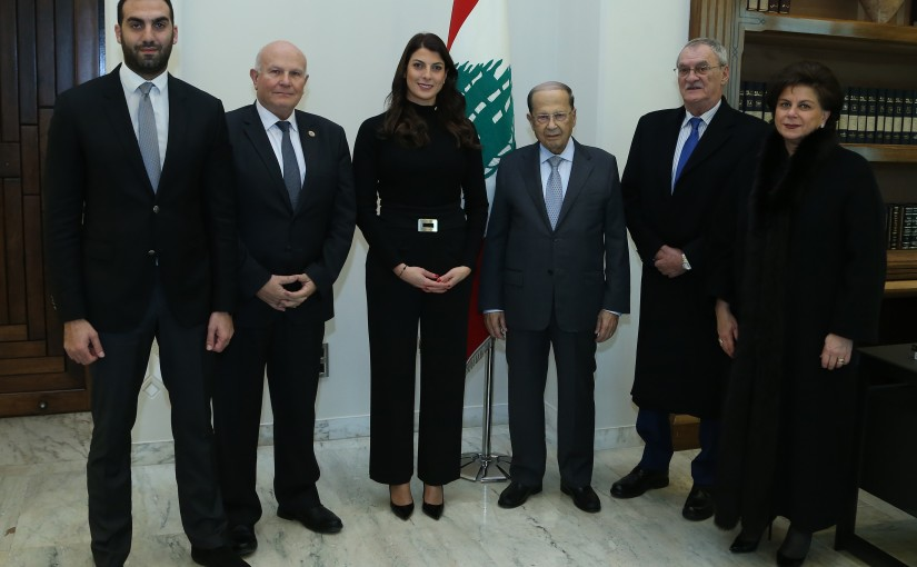 President Michel Aoun meets champion Mrs. Ray Basil.
