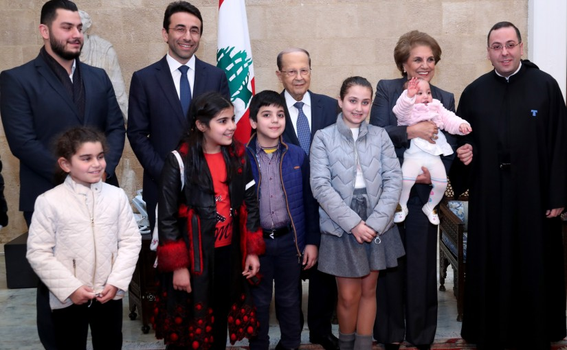 President Michel Aoun & The First Lady Mrs. Nadia Aoun meet the Governor of Beirut, Judge Ziad Shabib with a delegation from the Technical Institute of Antony – Dekwaneh.