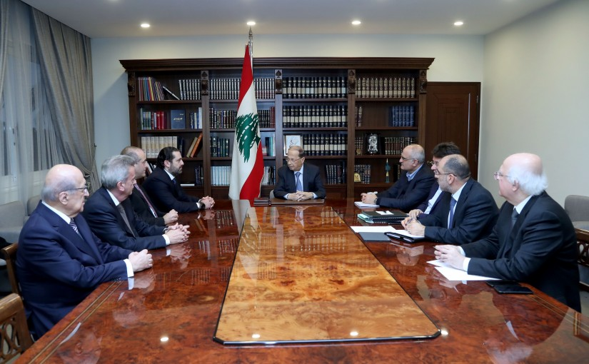 President Michel Aoun, with the presence of Prime Minister Hariri, Minister Ali Hassan Khalil, Raed Khoury, Ibrahim Kanaan, Governor of the Banque du Liban a financial meeting at the Baabda Palace.