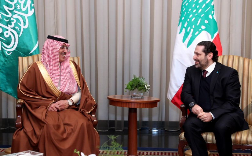 Pr. Minister Saad Hariri receiving Saudi delegation headed by Finance Minister Mohammed Abdullah Al-Jadaan.