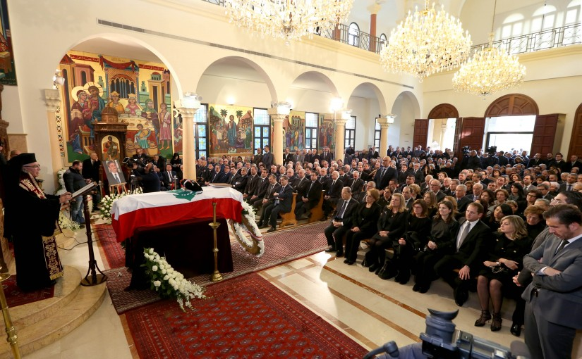 President Michel Aoun and First Lady Mrs. Nadia Aoun participating the burial ceremony of the MP and former Minister Major General Edgar Maalouf.