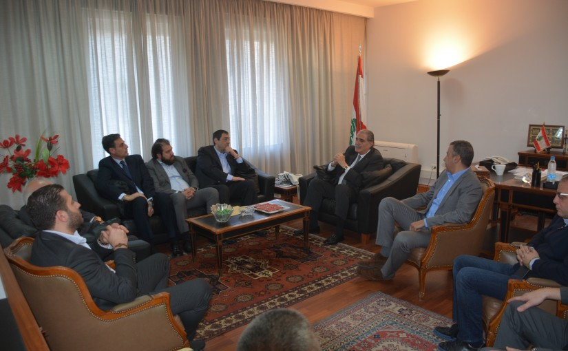 Minister Selim Jraysati meets Mr Salim El Halabi with a Delegation