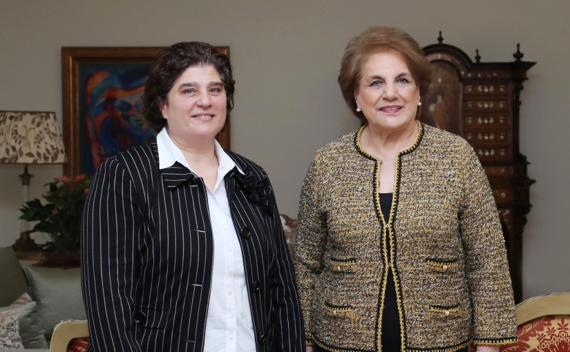 The First Lady Ms. Nadia Aoun meets  Mrs. Ghada Mouwanes Hounoud.