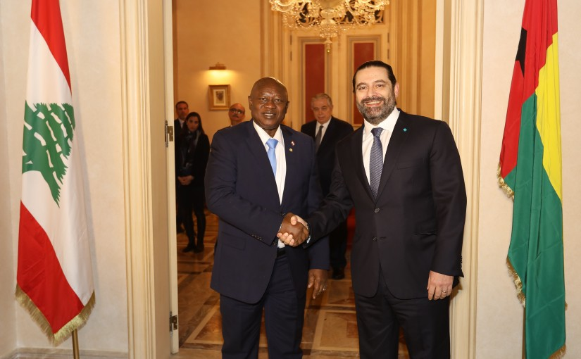 Pr Minister Saad Hariri meets Speaker of the House of the Republic of Guinea-Bissau Sipriano Kasama.