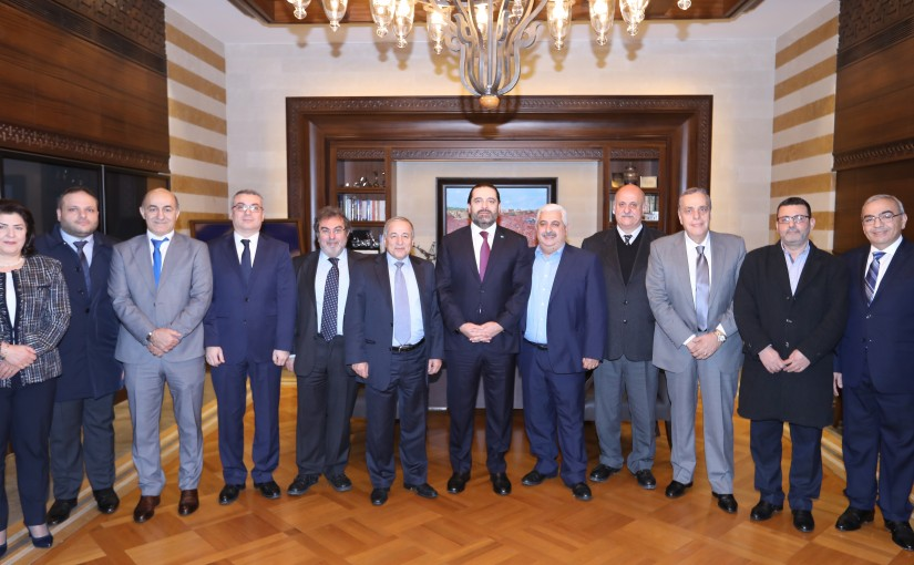 Pr Minister Saad Hariri meets a Delegation from Pharmacist Order